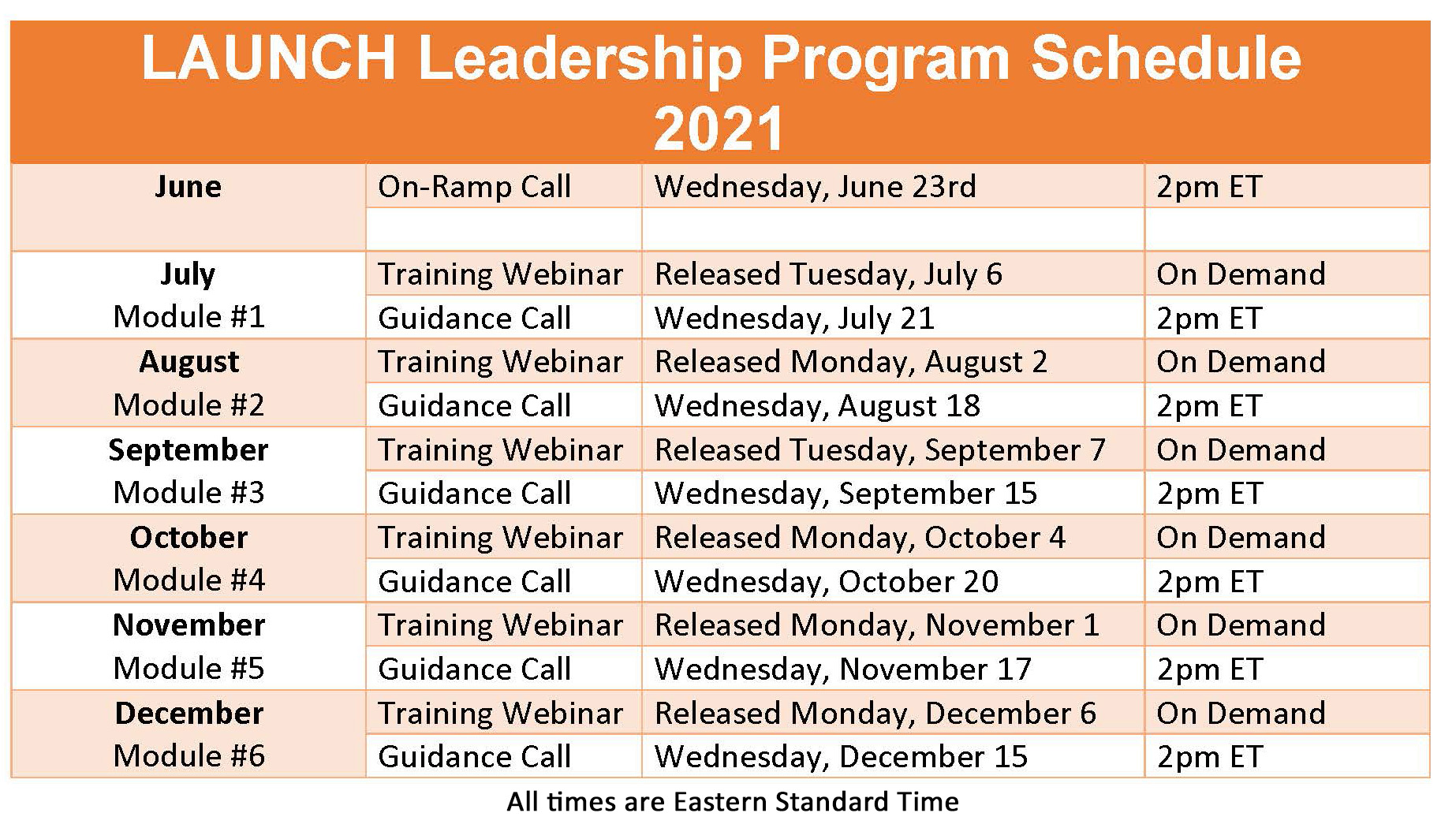 2021 Launch Program Schedule